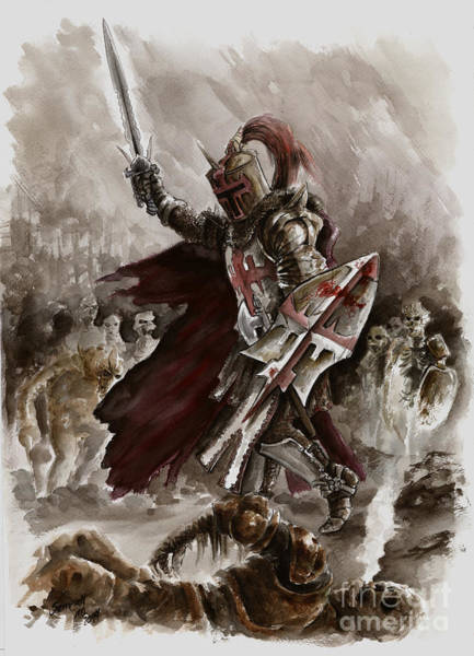 Wall Art - Painting - Dark Crusader by Mariusz Szmerdt