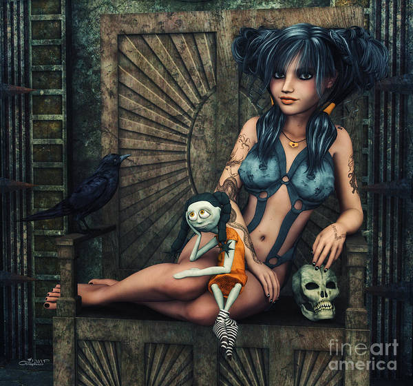 Digital Art - Dark Girl by Jutta Maria Pusl