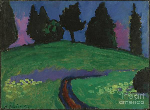 Painting - Dark Green Trees On Slope by Celestial Images