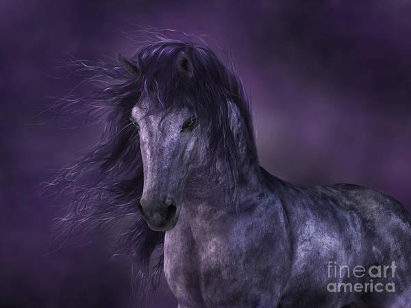 Digital Art - Dark Horse By Moonlight by Elle Arden Walby
