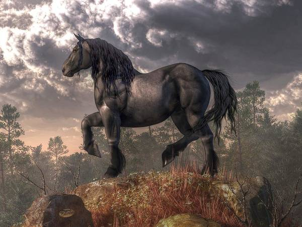 Digital Art - Dark Horse by Daniel Eskridge
