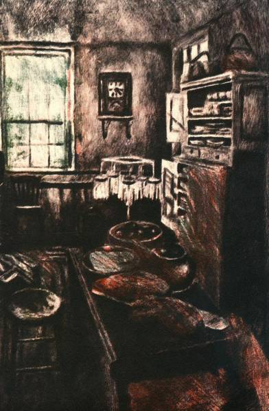 Drawing - Dark Kitchen by Kendall Kessler