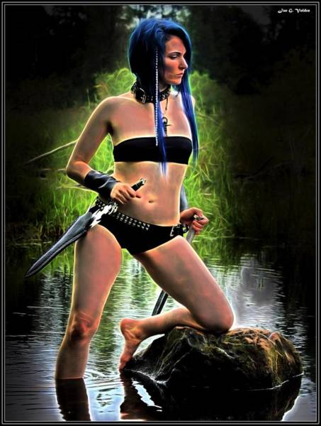 Painting - Dark Maiden Of Mystic Lake by Jon Volden