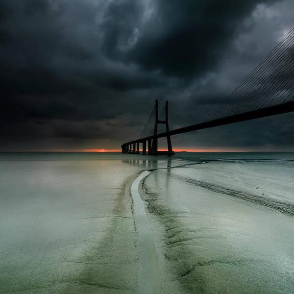 Vasco Da Gama Bridge Wall Art - Photograph - Dark by Paulo Dias Photography