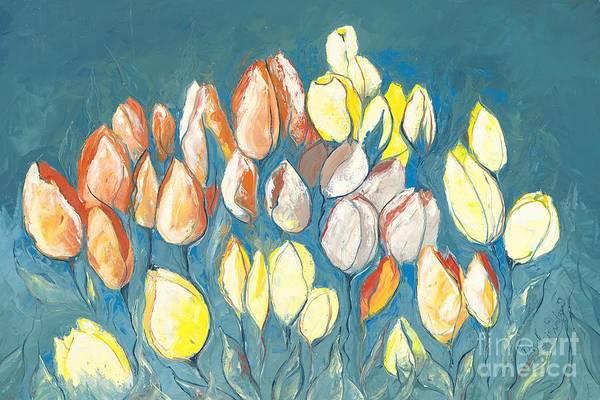 Skagit Valley Painting - Dark Tulips by Priscilla  Jo