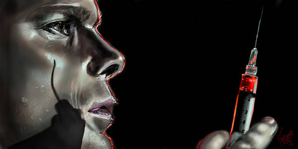 Michael Drawing - Darkly Dreaming Dexter by Vinny John Usuriello