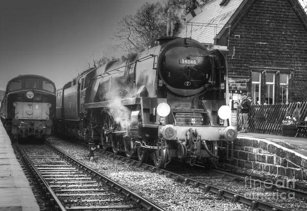 Photograph - Steam Locomotive 34046 Departing Darley Dale  by David Birchall