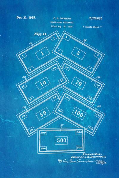 Monopoly Photograph - Darrow Monopoly Board Game 2 Patent Art 1935 Blueprint by Ian Monk
