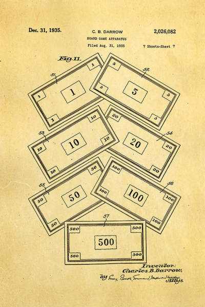 Inventor Photograph - Darrow Monopoly Board Game 2 Patent Art 1935 by Ian Monk