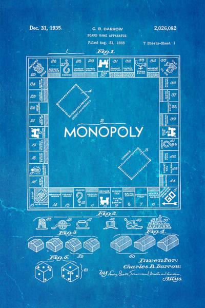 Monopoly Photograph - Darrow Monopoly Board Game Patent Art 1935 Blueprint by Ian Monk