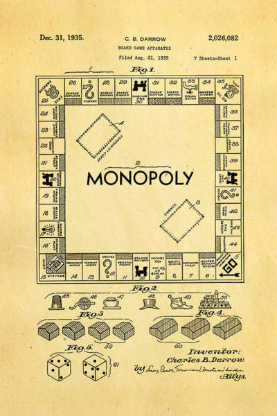 Inventor Photograph - Darrow Monopoly Board Game Patent Art 1935 by Ian Monk