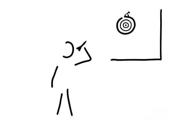 Target Drawing - Dart Player Target Throw Arrow by Lineamentum