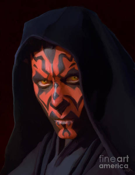Shower Curtain Painting - Darth Maul by Paul Tagliamonte