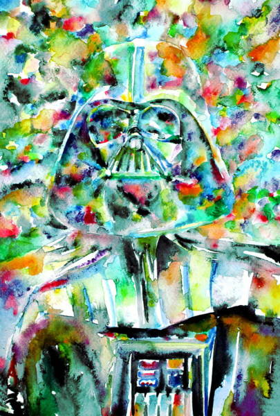 Wall Art - Painting - Darth Vader Watercolor Portrait.2 by Fabrizio Cassetta
