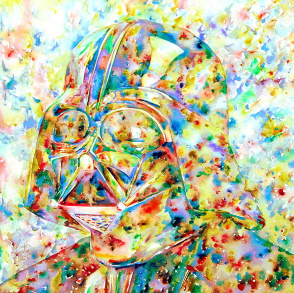 Wall Art - Painting - Darth Vader - Watercolor Portrait.3 by Fabrizio Cassetta