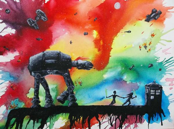 Star Wars Movie Painting - Darth Who by Robert Copithorne