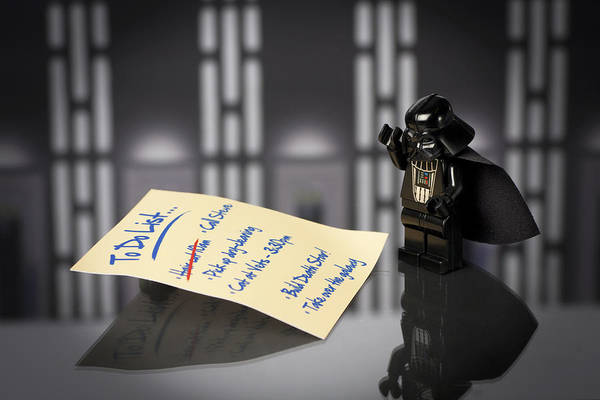 Toy Photograph - Darth's To Do List by Samuel Whitton