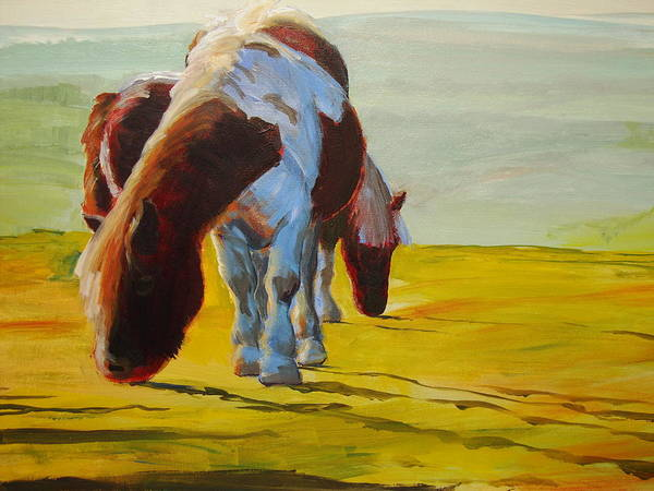 Painting - Dartmoor Ponies by Mike Jory