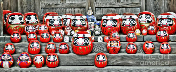 Buddhist Temple Wall Art - Photograph - Daruma Dolls by Delphimages Photo Creations