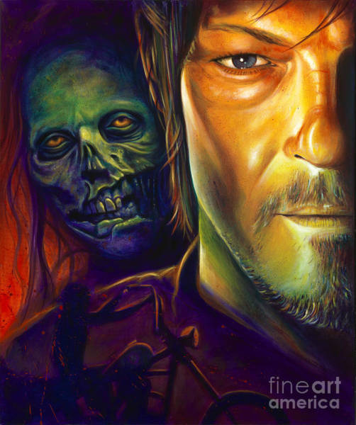 The Walking Dead Painting - Daryl Dixon by Scott Spillman