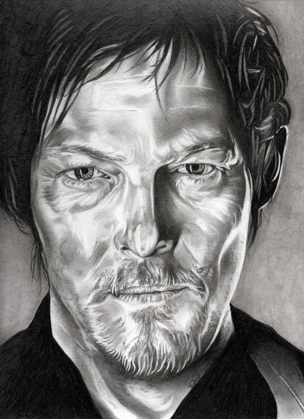 The Walking Dead Wall Art - Drawing - Daryl Dixon - The Walking Dead by Fred Larucci