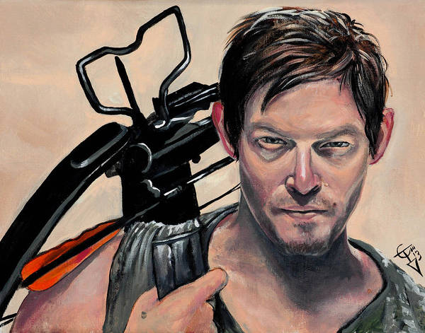 The Walking Dead Painting - Daryl Dixon by Tom Carlton