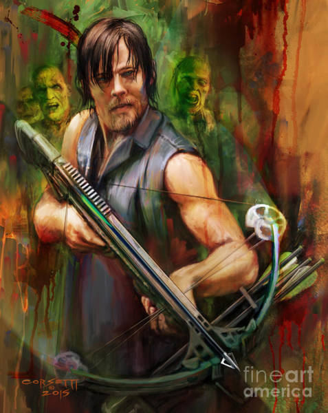 Painting - Daryl Dixon Walker Killer by Rob Corsetti
