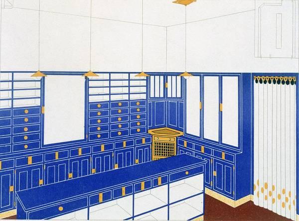 Light Blue Drawing - Das Interieur Iv, A Glove Shop, 1906 by Johann Stubner