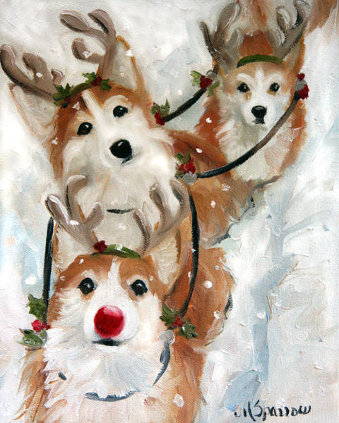 Wall Art - Painting - Dashing Through The Snow by Mary Sparrow