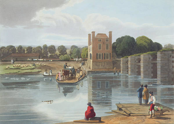 Cart Drawing - Datchet Ferry, Near Windsor, Engraved by William Havell