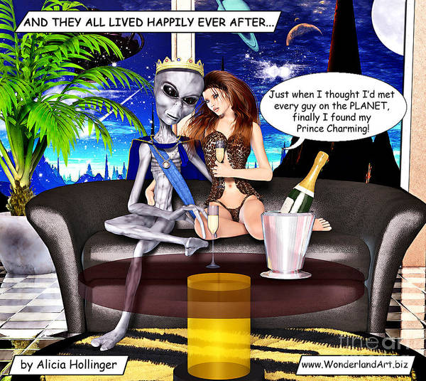 Mixed Media - Dating Alien Prince Charming by Alicia Hollinger
