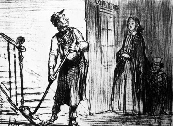 Political Cartoon Painting - Daumier Concierge, 1856 by Granger