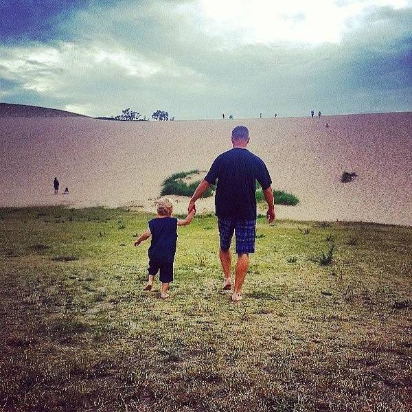 Wall Art - Photograph - Dave And Drew Heading For The Dunes by Jill Tuinier