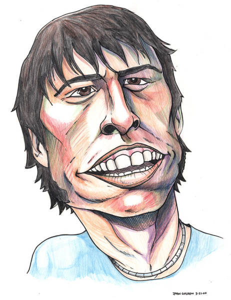 Foo Fighters Wall Art - Drawing - Dave Grohl Caricature by John Ashton Golden