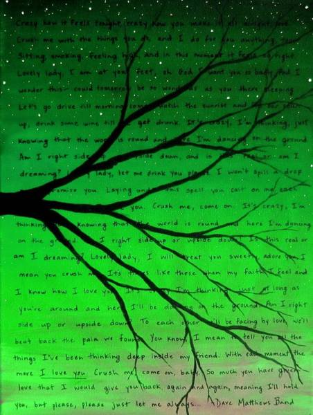 Crush Painting - Dave Matthews Band Crush Lyric Art - Green by Michelle Eshleman