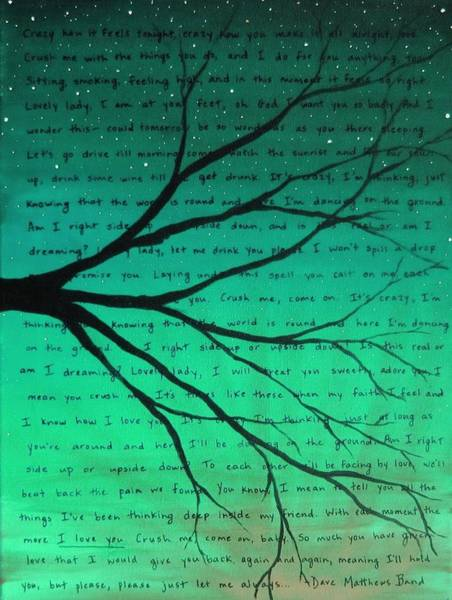 Girlfriend Painting - Dave Matthews Band Crush Lyric Art - Teal by Michelle Eshleman