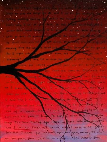 Crush Painting - Dave Matthews Band Crush Lyric Art - Red by Michelle Eshleman