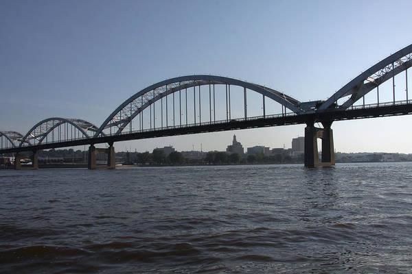 Centennial Bridge Photograph - Davenport Skyline And Centennial Bridge by Heidi Brandt