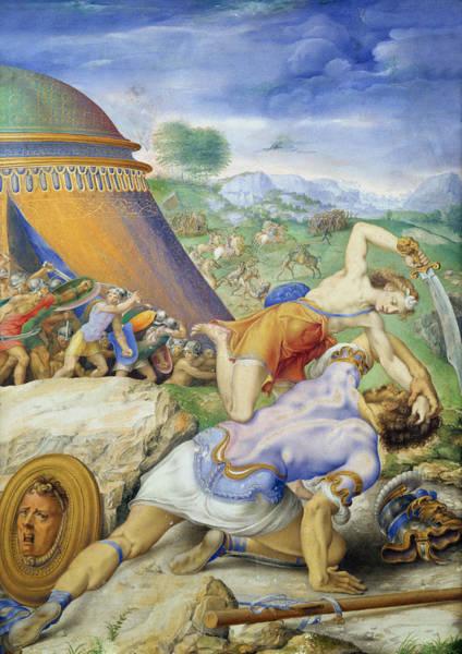 Giulio Painting - David And Goliath by Giorgio Giulio Clovio