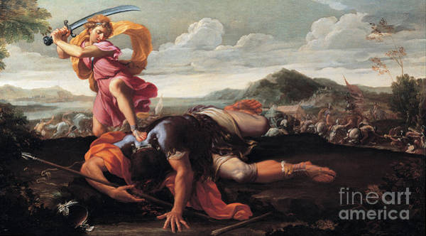 Redeemer Wall Art - Painting - David And Goliath by Celestial Images