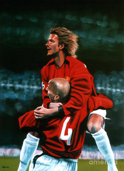 Spain Painting - David Beckham And Juan Sebastian Veron by Paul Meijering