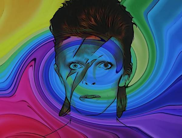 Glam Rock Digital Art - David Bowie Color Swirl by Dan Sproul