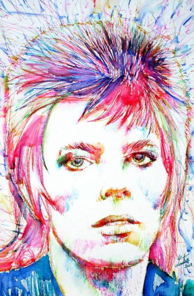 David Bowie Painting - David Bowie - Colored Pens Portrait by Fabrizio Cassetta