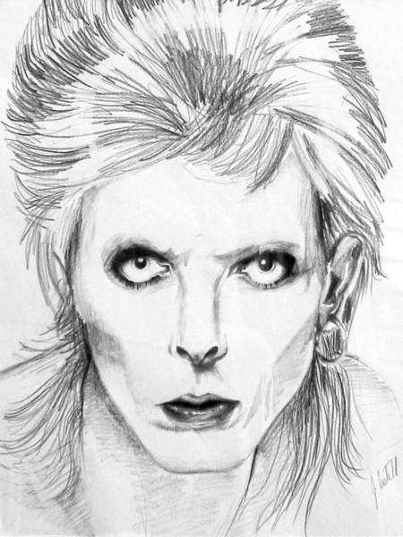 Glam Rock Drawing - David Bowie Diamond Dogs by John Castell