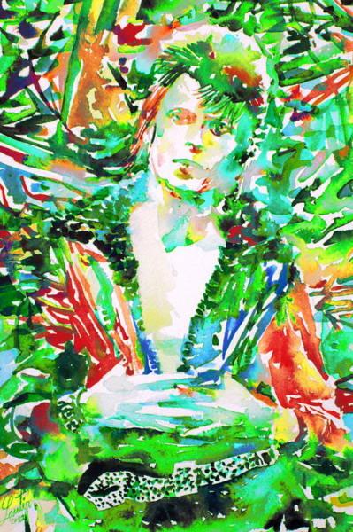 Ziggy Stardust Painting - David Bowie Watercolor Portrait.2 by Fabrizio Cassetta