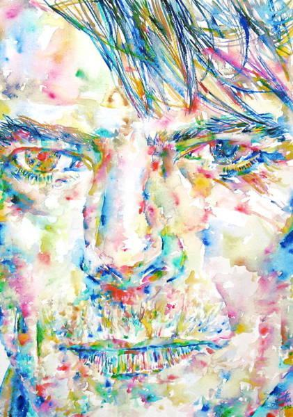 David Bowie Painting - David Bowie Watercolor Portrait.4 by Fabrizio Cassetta
