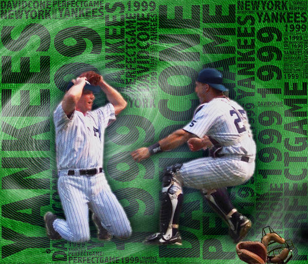 Hitter Painting - David Cone Yankees Perfect Game 1999 by Tony Rubino