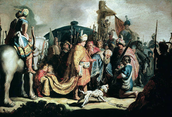 Hebrews Photograph - David Offering The Head Of Goliath To King Saul, 1627 Oil On Panel by Rembrandt Harmensz. van Rijn