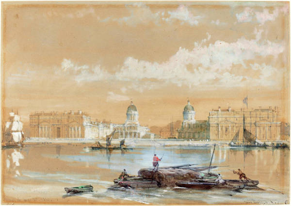 Wall Art - Drawing - David Roberts Scottish, 1796-1864, The Naval College by Litz Collection