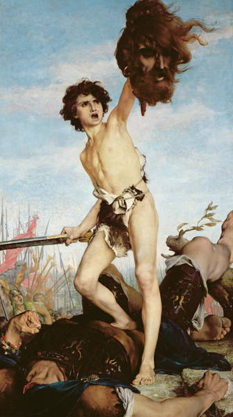 Big Small Painting - David Victorious Over Goliath by Gabriel Joseph Marie Augustin Ferrier